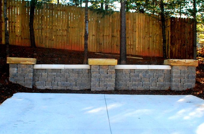 block retaining wall with columns