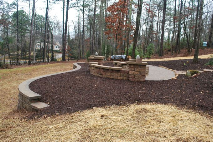 hardscape retaining wall paver patio fire pit seat wall