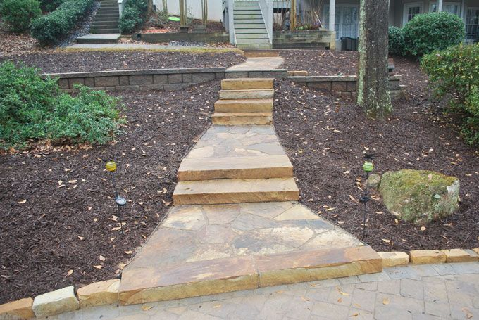 flag stone walkway & matching rock slab steps