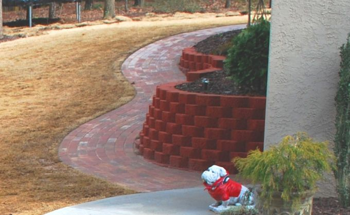 curved pavers and retaining wall