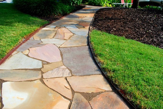 multiple colored flagsone walkway