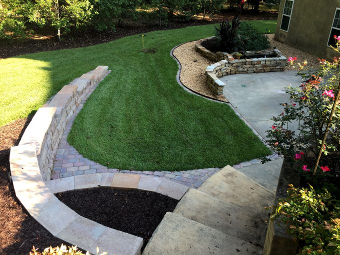 landscaping in fayetteville with new centipede sod