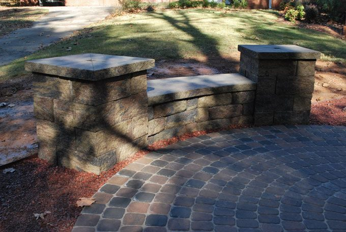 circle kit paver patio seat wall with columns