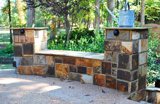 rock bench seat with columns