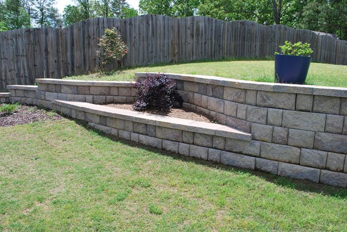 planter in retaining wall