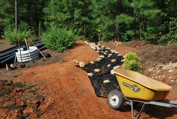 dry creek bed drain system