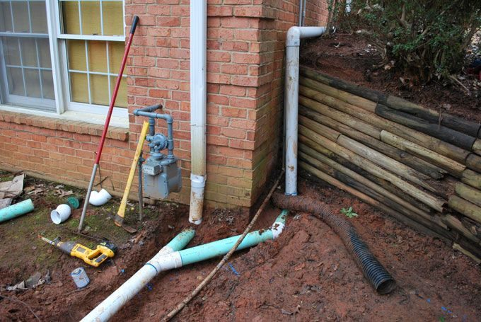 gutter drains installed by local landscaper