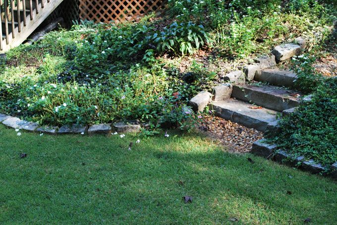 landscaping with garden steps using tenessee flag stone