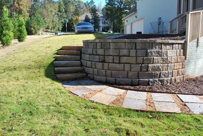 garden steps and retaining wall