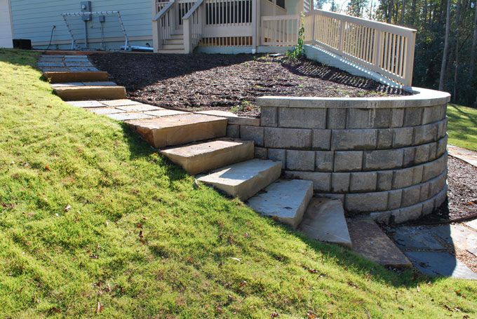 circular rock slab stairs in the landscape