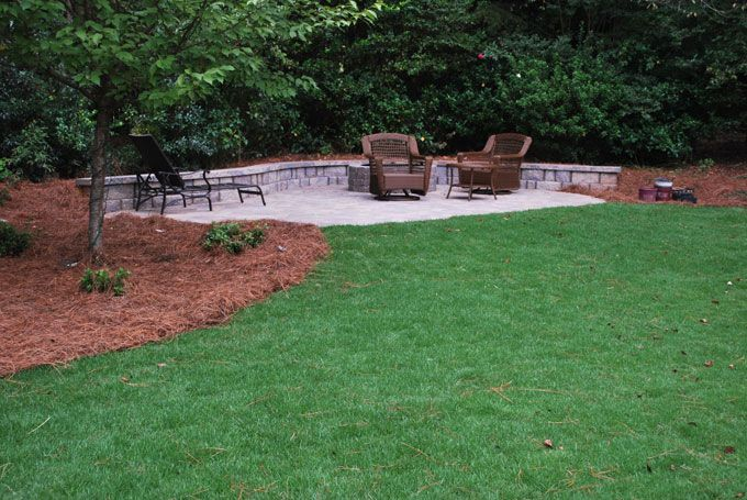 paver patio and bench wall with fire pit kit hardscape feature
