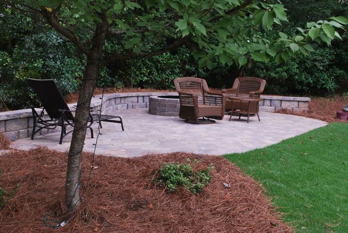 pavestone components create a back yard hardscape feature
