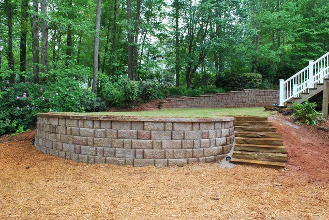 rock slab stairs and block Retaining wall