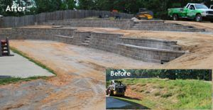 Fayetteville, Peachtree City, Sharpsburg, Newnan, Detailed retaining wall with terrace, planter boxes steps