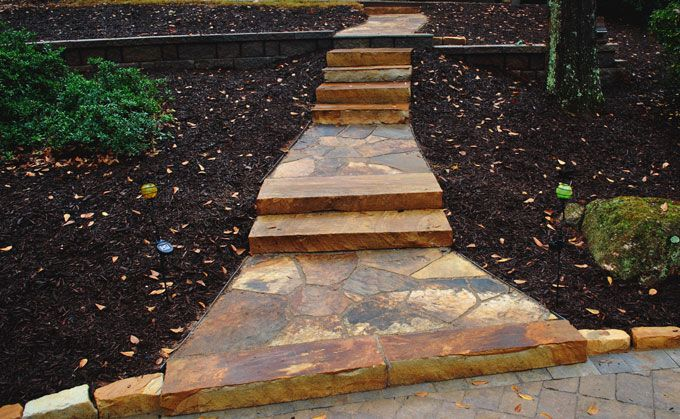 create a landscape walk way with flagstone