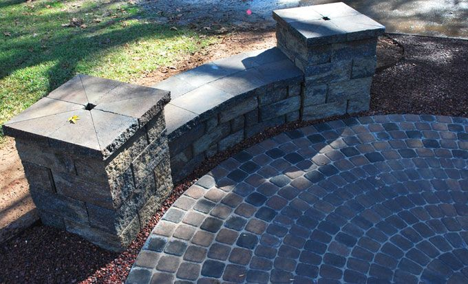 hardscape addition with pavers and wall block