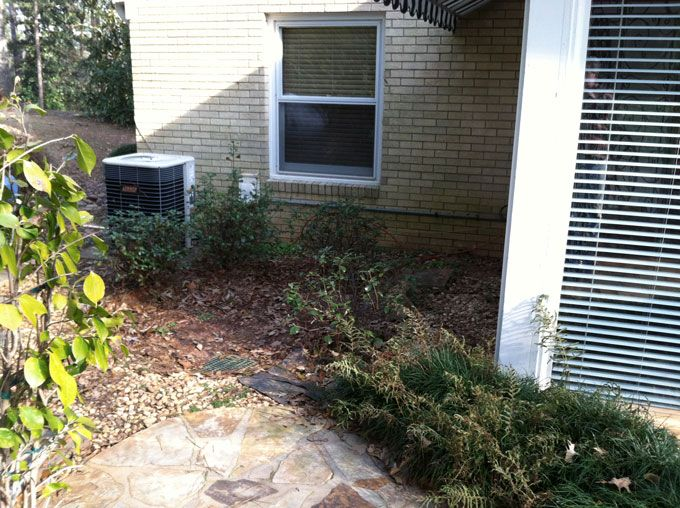 patio with rock slabs