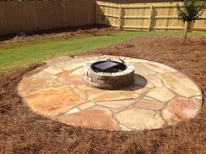 fire pit kit on flagstone patio