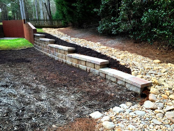 extending a retaining wall and controlling erosion
