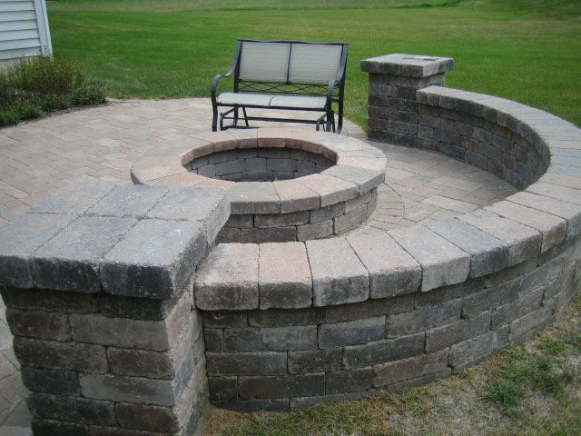 paver patio block seat wall columns fire pit