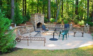 Stack stone fire place, retaining wall combo