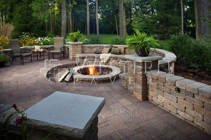 sunken fire pit area in paver patio