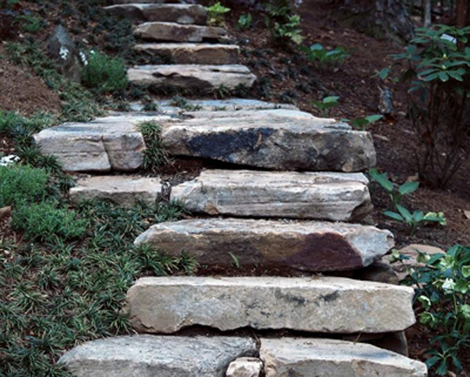 natural stone slabs used to create landscape steps