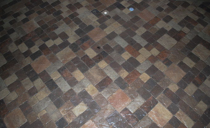 multiple colors and sizes of patio pavers