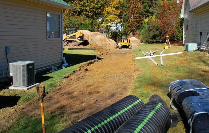 large drain pipe installation