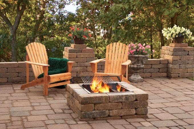 firepit patio with bench wall