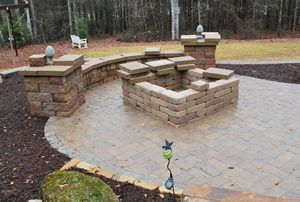 fire pit with seat wall
