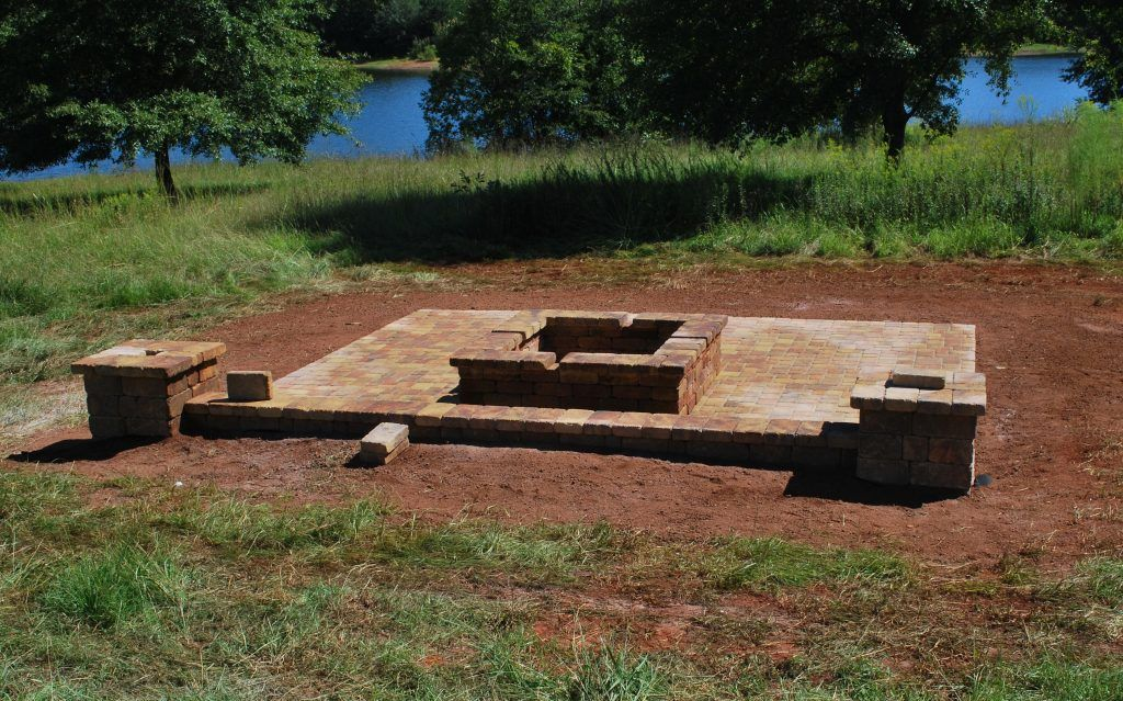 paver patio, seat wall with columns and fire pit