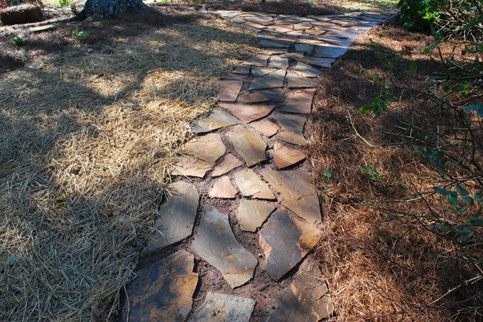 landscaper in tyron created a rock walkway in a garden area
