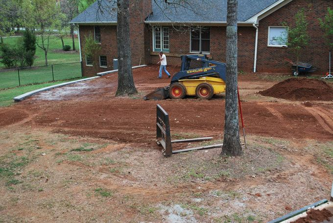 leveling a yard with new retaining wall