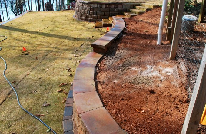 curving retaining wall