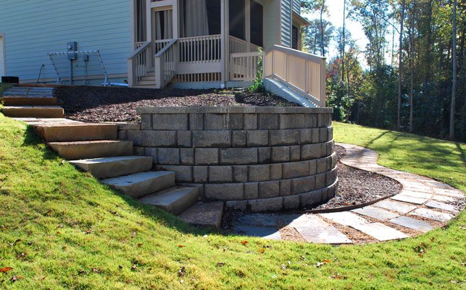 rock walkway and rock slab steps