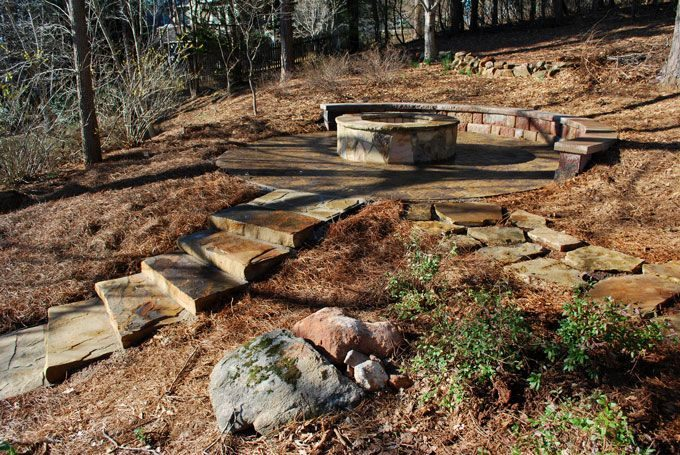 hillside hardscape fire pit paver patio block retaining wall