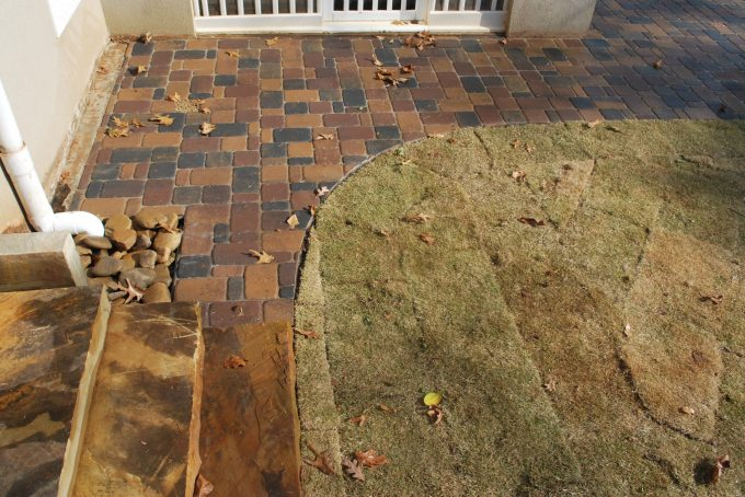 rock slab steps and paver patio