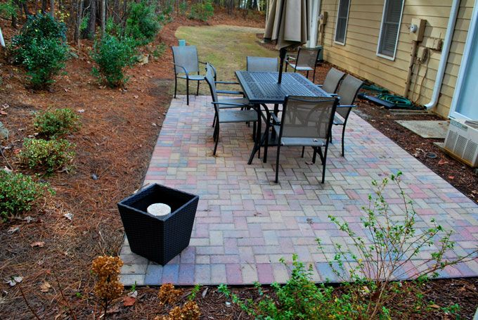rectangular paver patio with soldier course