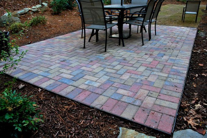 concrete paver patio hardscape feature