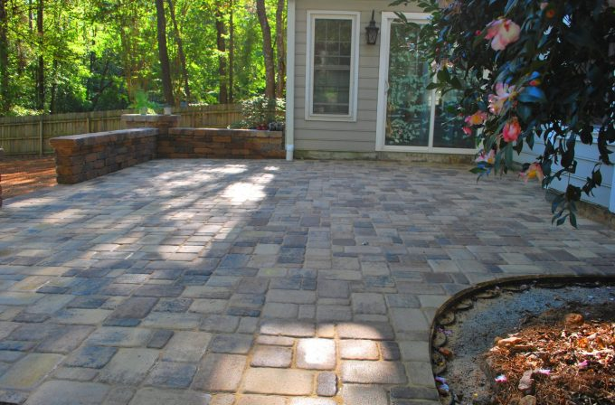paver patio with knee wall and columns