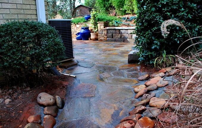 rock patio and drain