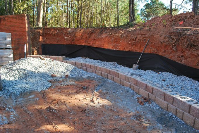 filter fabric in retaining wall construction