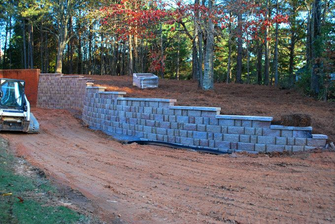 retaining wall stepping down a hill side