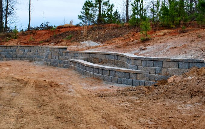 built in planter box in retaining wall