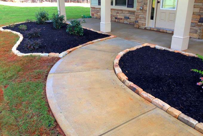 rock bricks edging for containing mulch