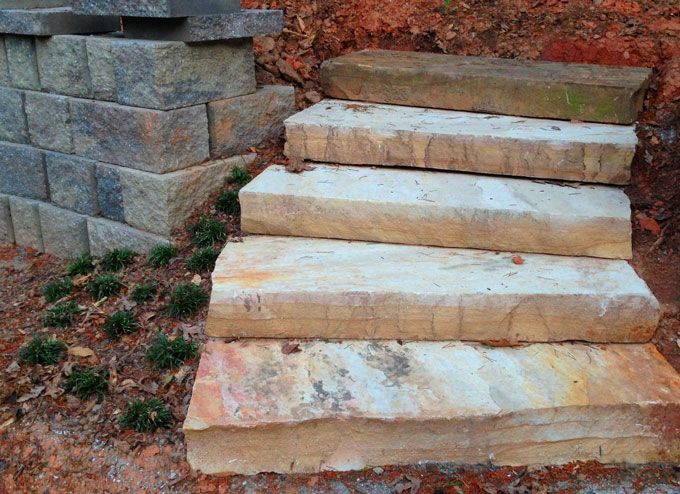 ston slab steps with retaining wall