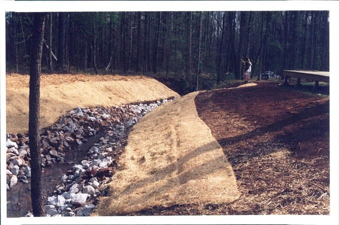 erosion control matting on a creek bank