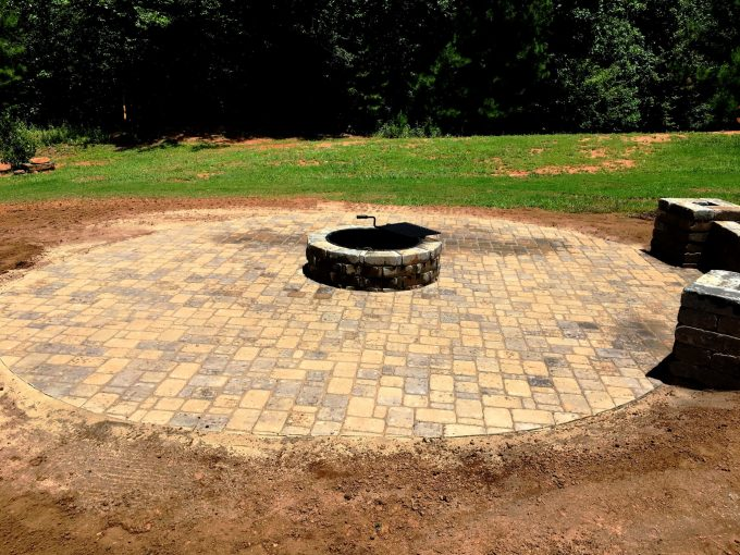 paver patio, fire pit kit, seat wall