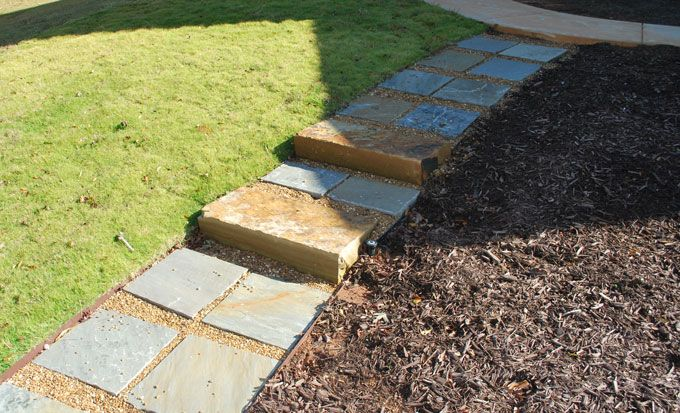 rock slabs as steps and landings